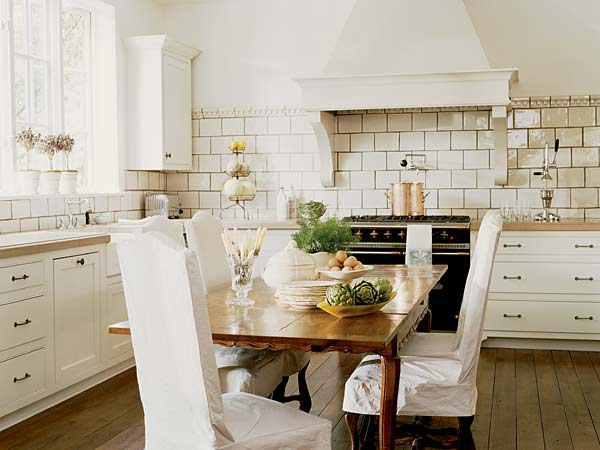 Kitchens White French Country Stove Subway Tiles Backsplash Butcher