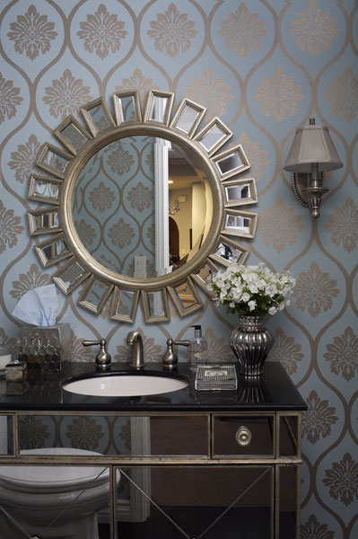 bathrooms - Z Gallerie  walmart  sunburst  mirror  mirrored  sink black  marble  metallic  green  gold  wallpaper   silver  sconces  gray  shades  bathroom