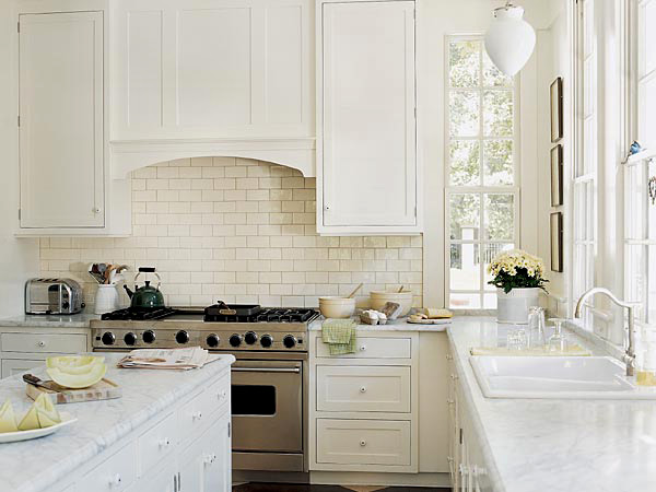 kitchens - marble white kitchen island subway tiles backsplash