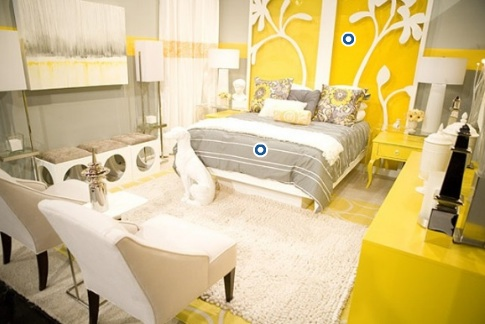 bedrooms - yellow  gray  white  modern  wingback  chairs  white  column  lamps  glossy  yellow  lacquer  nightstands  tables  yellow  white  wall art  yellow  dresser  ivory  flokati  rug  modern  lamps  gray walls  bedroom