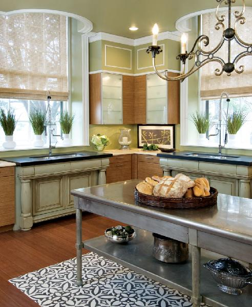 green, eco friendly kitchen from Traditional Home Mag