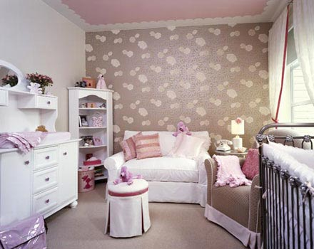 Pink and brown girl's nursery! Wallpaper in girl's nursery!