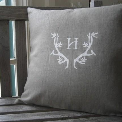 Home - Etsy :: WhiteTwig :: White Twig Signature Antler Linen Pillow with Monogram - pillow