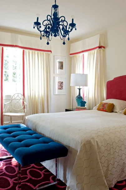 girl's rooms - royal blue  hot pink  upholstered  velvet   headboard  white  bedding  glossy  blue  chandelier  ivory cornice box  boxes  ivory drapes  pink  ribbon  border  window treatments  blue  velvet  tufting  tufted  bench  pink  geometric  rug  baby blue  gourd  lamp  ivory walls  paint color  bedroom