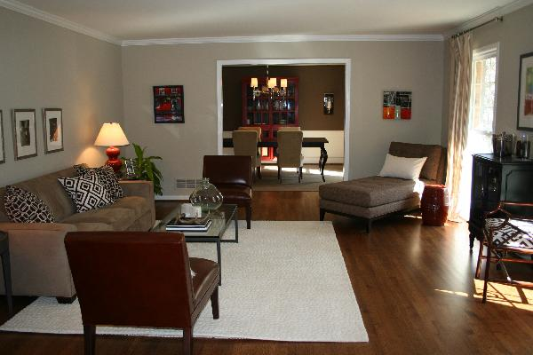 Brown Red Living Room