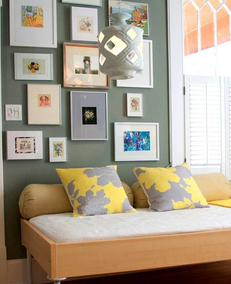 bedrooms - daybed eclectic photo gallery green walls paint color office  Thanks to Design Sponge!    Dwell Peony Pillows! Photo Gallery! Gray