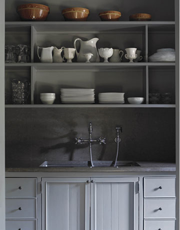Beautiful gray kitchen cabinets and built-ins: cabinets and shelves. Painted gray