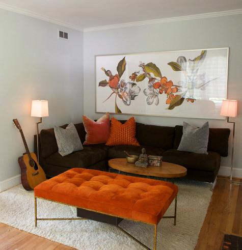 Burnt Orange Living Room Decor On Burnt Orange Chocolate Brown And Gray  Color Combo
