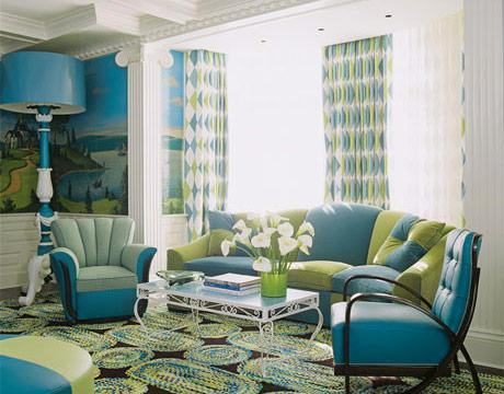 Home - Family Room Designs - Decorating Ideas for Family Rooms - House Beautiful - Blue and green