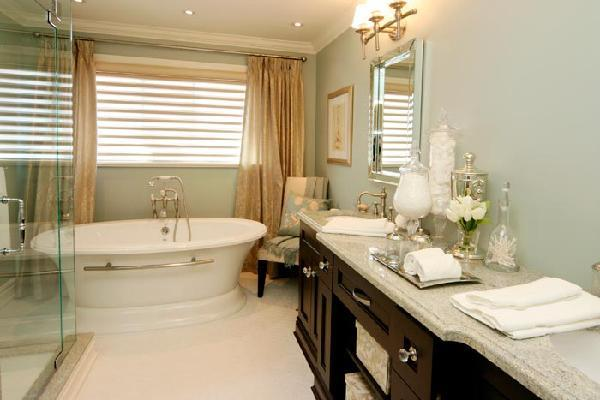 romantic bathroom tub, silk drapes, espresso bathroom vanity