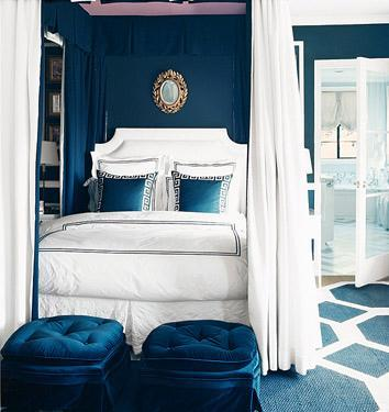 Home - Blue and white (Domino Magazine) - Blue, White Bedroom
