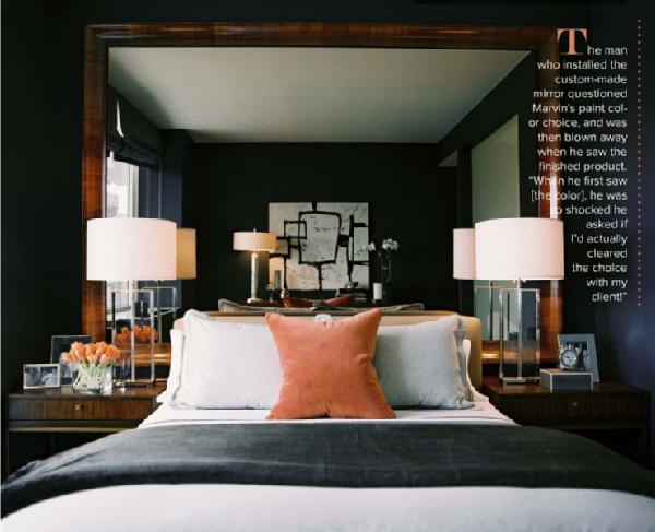 bedrooms - Lonny Ron Marvin dark blue walls paint color tortoiseshell mirror orange velvet pillow glass crystal lamps gray velvet throw wood nightstands