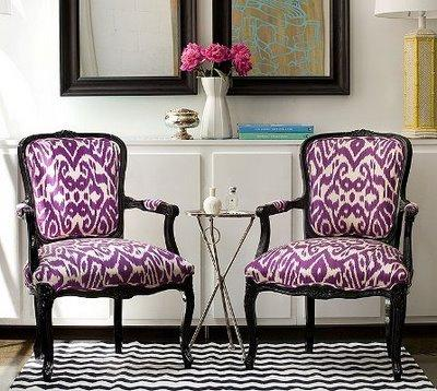 living rooms - ikat chairs  black and white rug  ikat chairs
