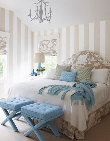 bedrooms - beige white toile headboard bed skirt bedskirt blue Jonathan Adler velvet tufted X-Bench blue cashmere throw blanket beige white toile roman shades blue gourd lamp pagoda chandelier striped walls beige white walls paint color