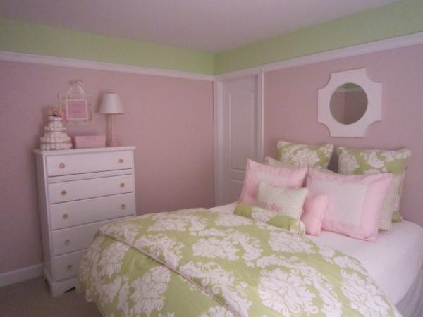 nurseries - pink green walls paint color white dresser white mirror green damask duvet pink green pillows  nurseries  adorable pink and green