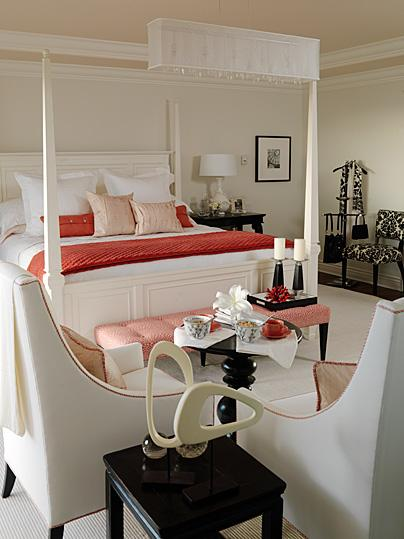 bedrooms - glossy black lacquer accent table nightstands ivory gourd lamps ivory wood canopy bed red bedding pink silk throw pillows pink polka dot tufted bench white accent chairs pink trim ivory black damask chair ivory walls paint color