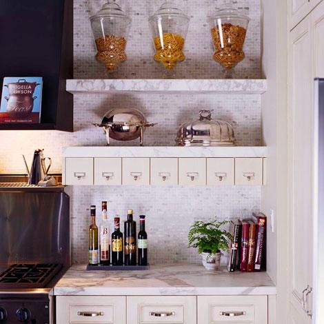 kitchens - white carrara marble chunky marble floating shelves tumbled marble tiles mosaic backsplash countertops files drawers kitchen stainless steel appliances
