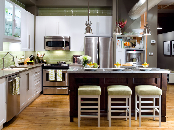 Suzie: Barre Photography http://www.brandonbarre.com/  Green & brown kitchen in modern loft! ...