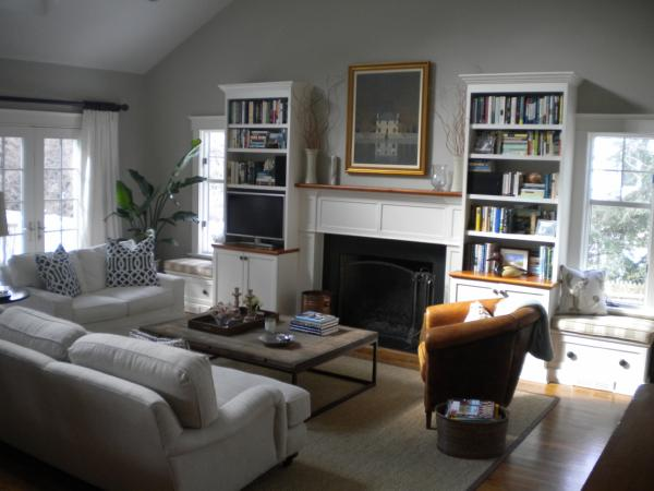 living rooms - Benjamin Moore - Revere Pewter - white drapes fireplace built-ins sofa trellis pillows window seat brickmakers coffee table  Living