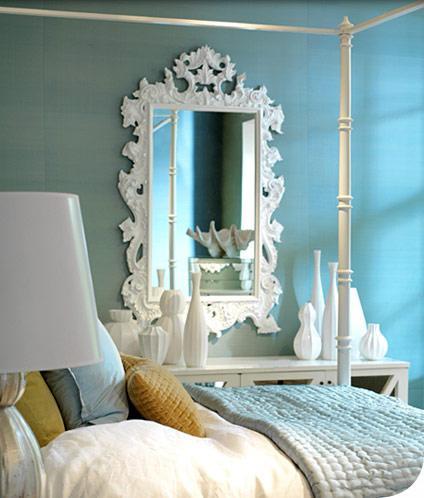 oly studio white rococo mirror white faux bamboo bed white vases  oly studio  white rococo mirror, white faux bamboo canopy bed