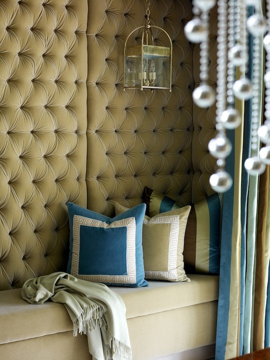 living rooms - Urban Electric Co. Lillibette v1 Pendant tufted velvet walls blue beige pillows built-ins velvet storage bench  toby fairley