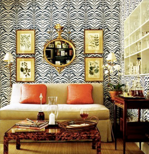 zebra wallpaper. living rooms - zebra wallpaper