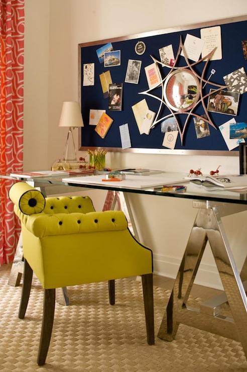 Gina Kates: amanda nisbet   polished chrome glass top sawhorse desk, bulletin board, green leather ...