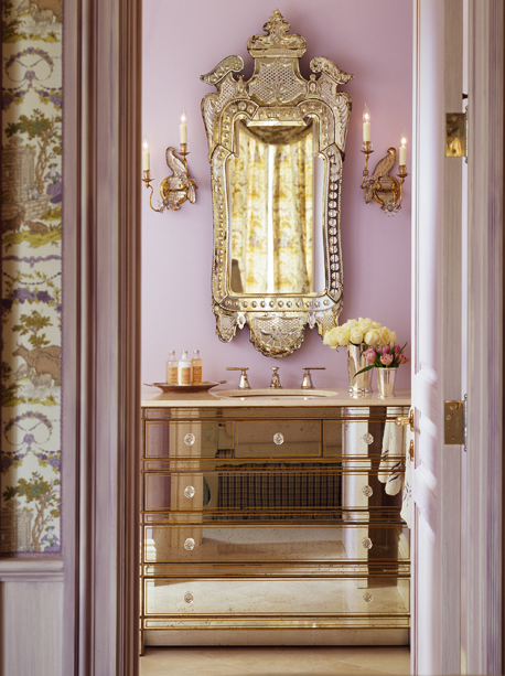 bathrooms - material girls mirrored gold trim bathroom vanity ornate rococo mirror sconces violet  Kendall Wilkinson & Matthew Millman Photography.