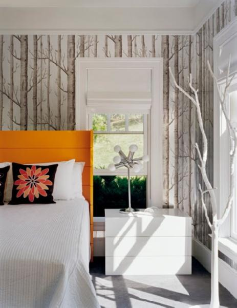 bedrooms - Anthropologie Woods Wallpaper orange wingback headboard modern white nightstands black flower pillows  orange headboard  woods wallpaper,