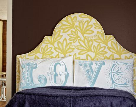 Gina Kates: bedrooms - Love Pillows yellow headboard  country living yellow headboard   yellow floral headboard and LOVE pillows.