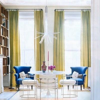 Gina Kates: curtains  green silk drapes and blue chairs.