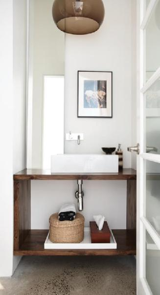 bathrooms - smoke gray glass round pendant wood bathroom vanity console art wall fixture glossy white lacquer tray basket glossy white lacquer tray red tissue box and white walls paint color