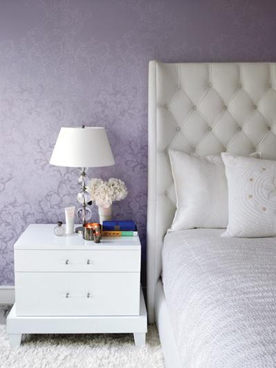 bedrooms - violet purple white leather wingback headboard white modern nightstand purple metallic damask wallpaper lamp  violet bedroom   violet