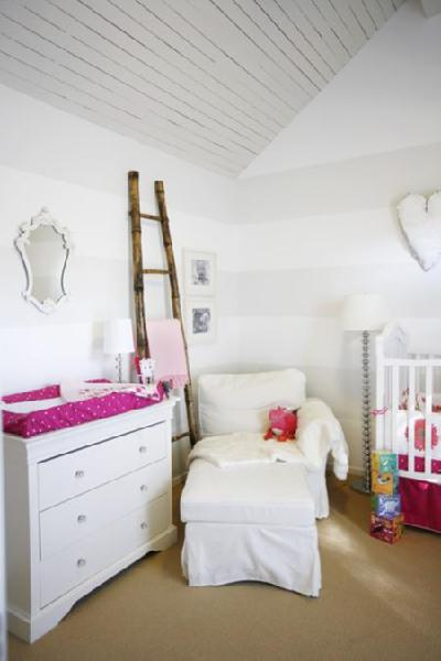 nurseries - white gray striped walls bamboo decorative ladder white changing table white pink polka dot cushion white slipcovered chaise lounge glass lamp chrome floor lamp white crib white. pink crib bedding nursery