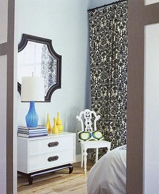 bedrooms - bedroom black mirror white chest chair ivory black damask drapes