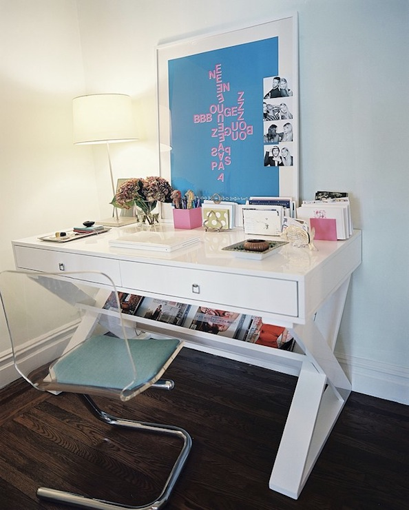dens/libraries/offices - lonny mag victoria lucite acrylic desk chair blue cushion glossy white lacquer desk  Victoria Thompson via lonny mag
