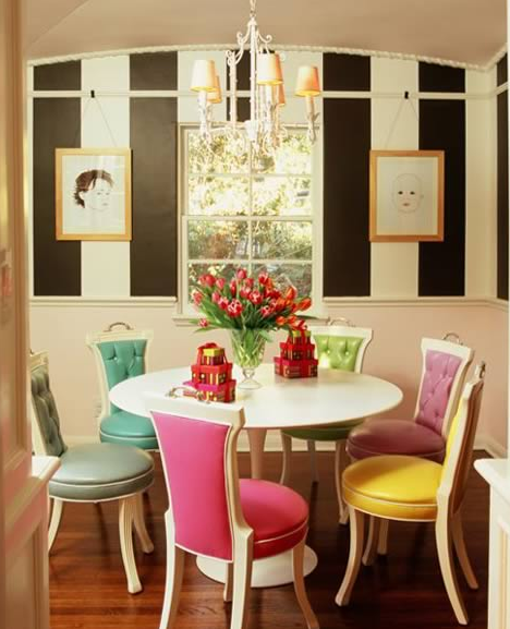 dining rooms - ruthie sommers saarinen tulip dining table pink purple yellow green blue gray tufted dining chairs black white striped walls chandelier