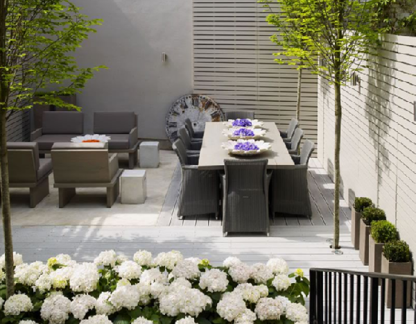 decks/patios - hydrangeas outdoor furniture  Thanks to Kelly Hoppen.  Bountiful hydrangeas! Modern outdoor furniture!