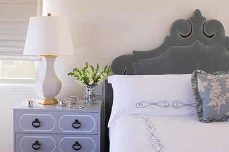 bedrooms - gray velvet headboard white porcelian almp lilac chest nightstand black pulls gray beige silk ruffled pillow  Thanks to Traditional