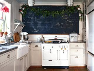 kitchens - Heather Chadduck Cottage Living magazine chalkboard white cabinets  Heather Chadduck Kitchen w/Chalkboard Wall  Adorable vintage kitchen
