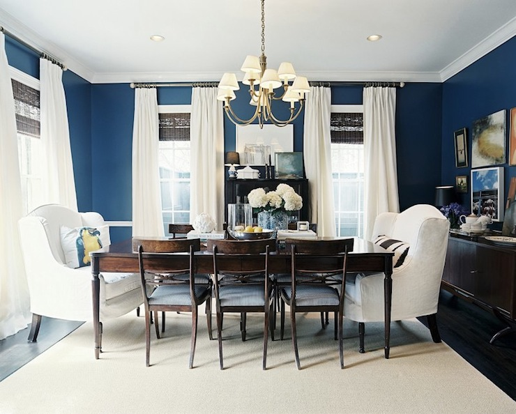 Suzie: Lonny Magazine - Ashley Putman - Gorgeous blue & brown dining room design with bold blue ...
