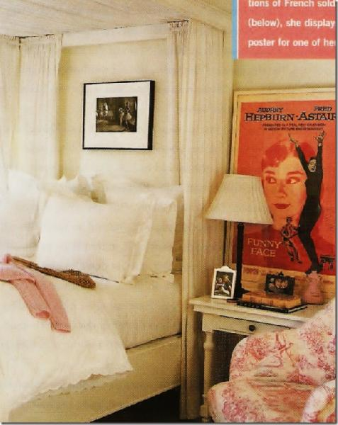 girl's rooms - Audrey Hepburn toile Nancy Meyers crisp white bedding white nightstand table  Hailie Meyers' Bedroom  Crisp white bedding, white