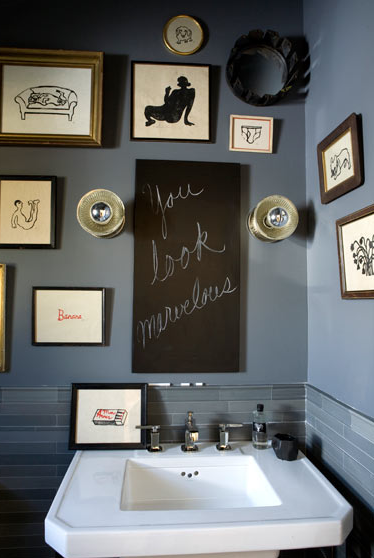 bathrooms - white pedestal sink blue glass tiles blue paint wall color chalkboard eclectic art gallery chrome fixtures bathroom  Thanks to Amanda