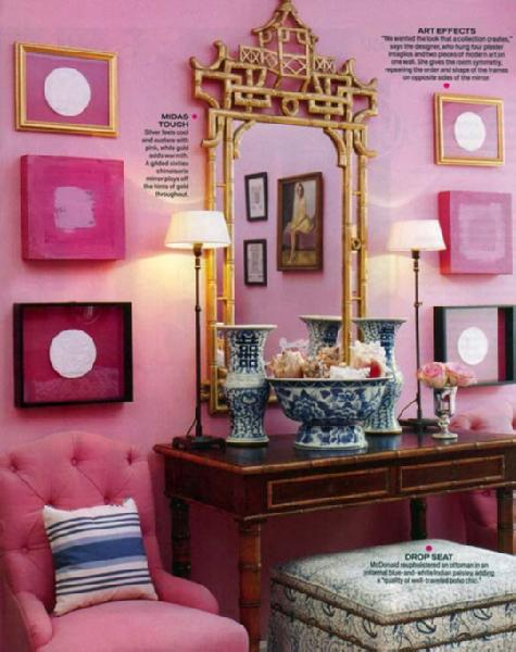 entrances/foyers - pink tufted chair console table ottoman pink walls gold gilt ornate mirror vertical art gallery striped blue pillow black buffet lamps
