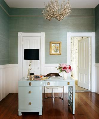 dens/libraries/offices - glossy blue lacquer Hollywood Regency desk shade seafoam green grasscloth wallpaper white beadboard branch chandelier den office