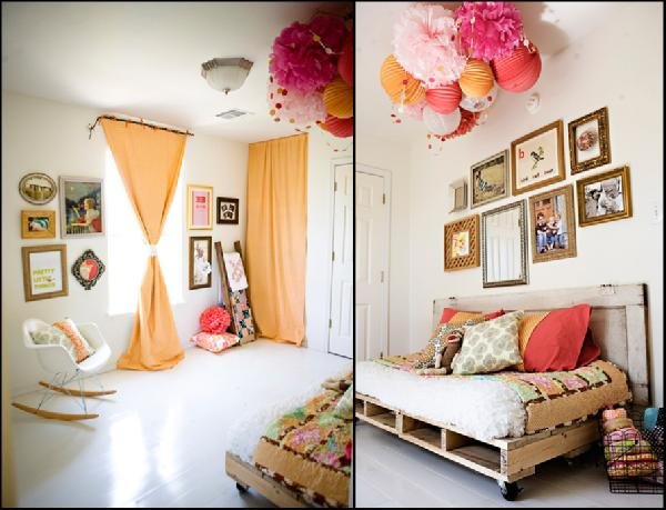 girl's rooms - orange curtains orange pink girls room  Girls room  Orange drapes, rustic bed, eames rocking chair and pom poms.