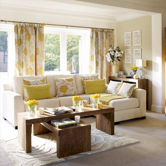 Room yellow gray living room yellow floral drapes ivory sectional