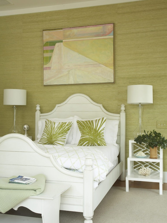 Suzie:  Amanda Nisbet.  green cottage bedroom design with green grasscloth wallpaper, white ...