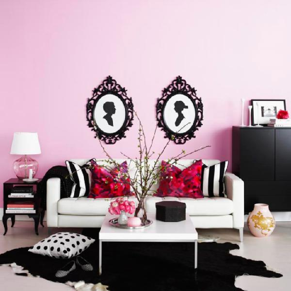 Gina Kates: ung drill ikea frame  Ikea black ung drill frames, pink walls paint color, white Ikea ...