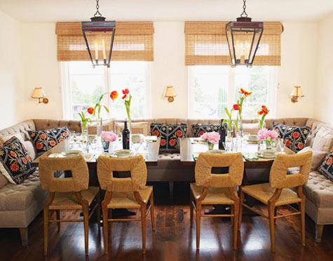 Gina Kates: Peter Dunham Design - Bamboo roman shades, black iron lanterns, tufted dining benches, ...